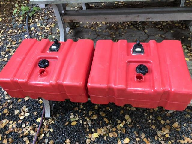 "Two ""Tempo"" 12 gallon fuel tanks circa 2007."