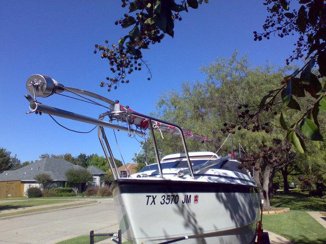 Mast Raising Pole as Furler Support when Trailering