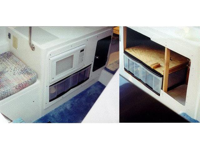 Microwave & drawers in galley